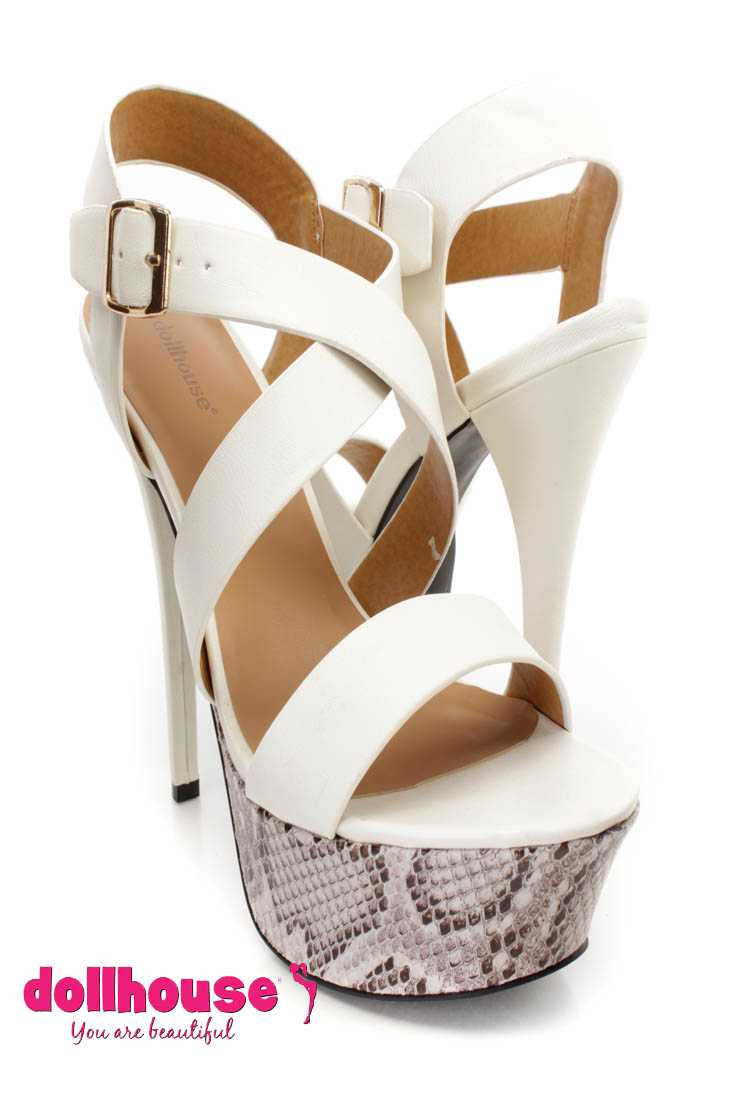 White Cross Strappy Platform 6 Inch High Heels Faux Leather
