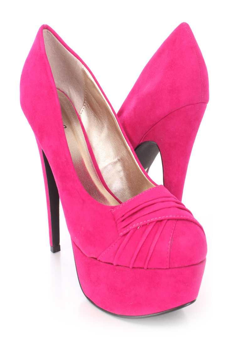 Fuchsia Pleated Vamp Platform Pump Heels Velvet