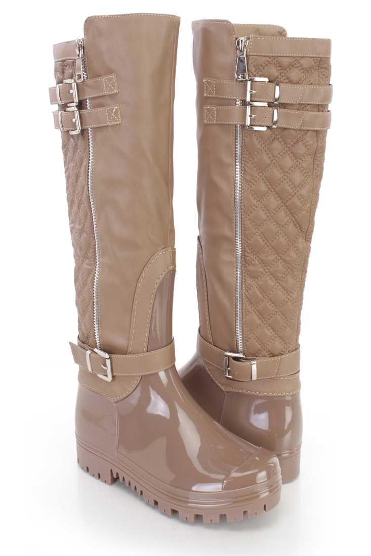 Taupe Stitched Quilted Riding Boots Faux Leather