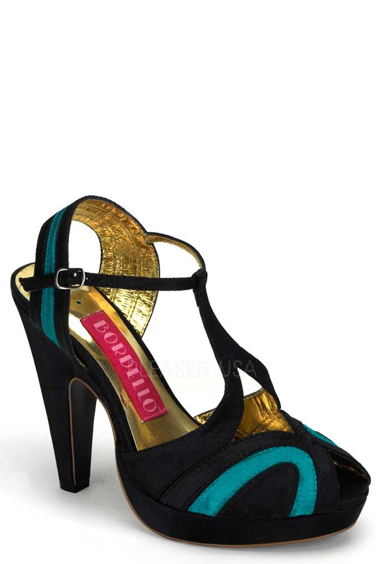 Black Turquoise Two Tone T Strappy Peep Toe High Heels Satin