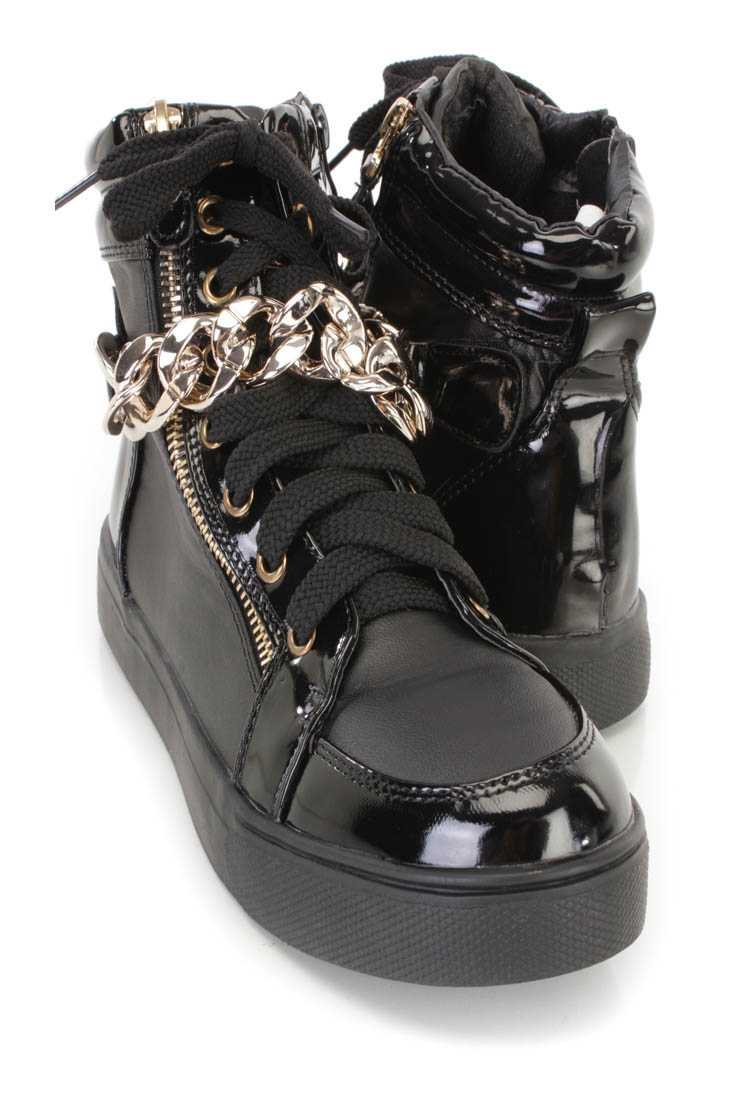 Black Lace Up Zipper Accent Sneaker Flats Faux Leather