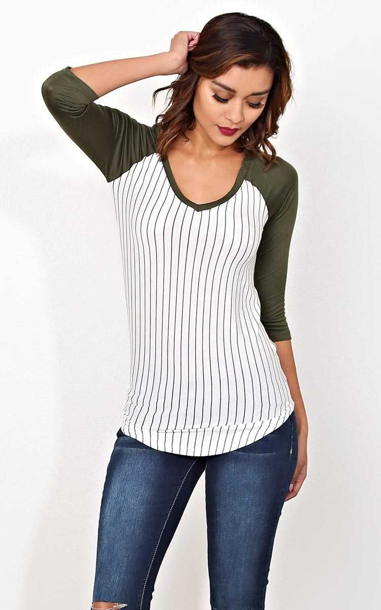 Olive Take The Field Knit Raglan - MED - Olive Combo in Size Medium by Styles For Less