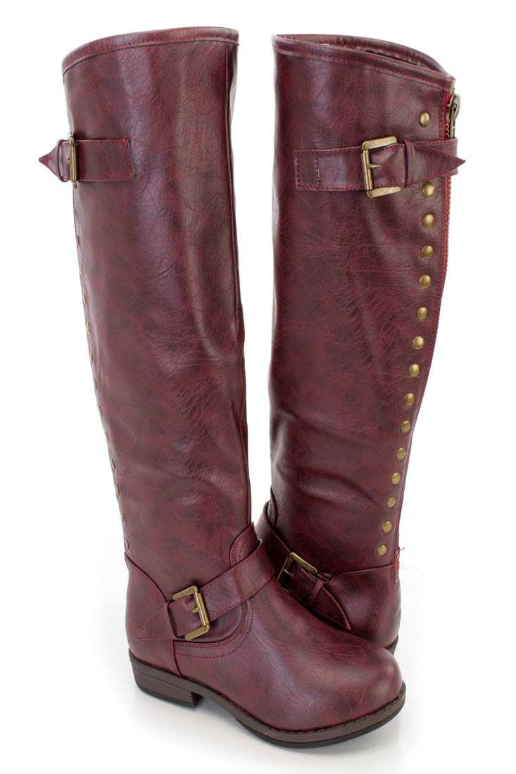 Wine Studded Knee High Riding Boots Faux Leather