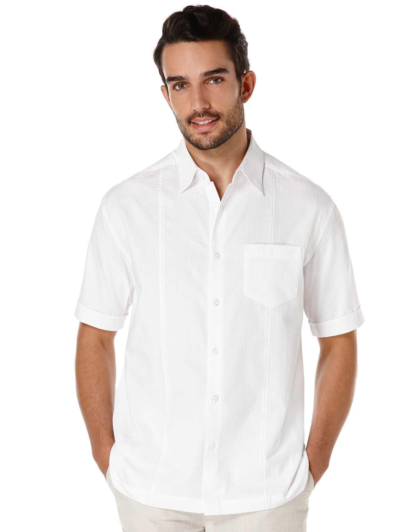 Cubavera Cotton Short Sleeve Front Tuck Seersucker