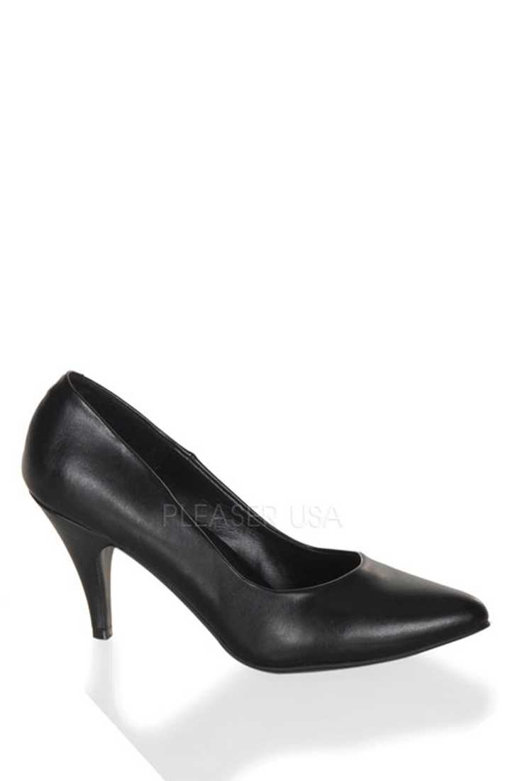 Black Single Sole Pump High Heels Faux Leather
