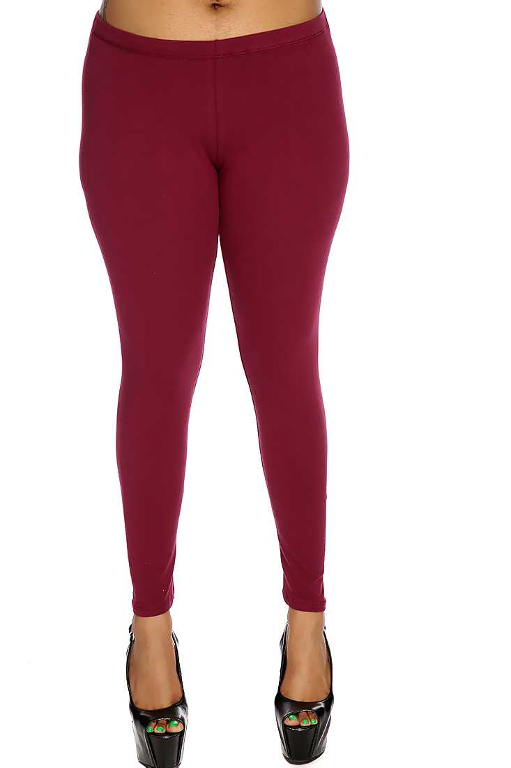 Wine Simple Plus Size Casual Leggings