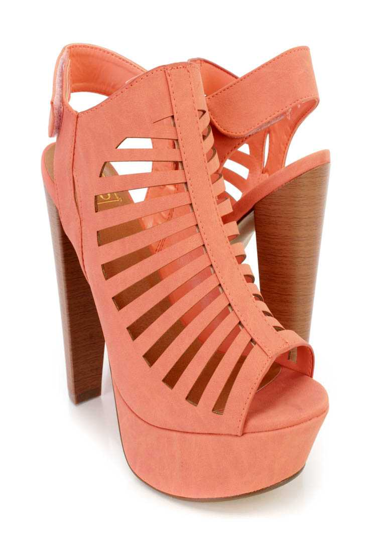 Salmon Perforated Strappy Platform Booties Nubuck