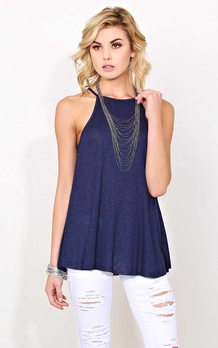 Jenny Navy Rib Knit Tank - XLGE - Navy in Size X-Large by Styles For Less