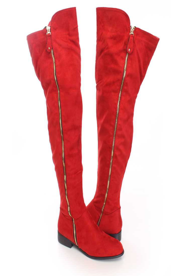 Red Thigh High Zipper Boots Faux Suede
