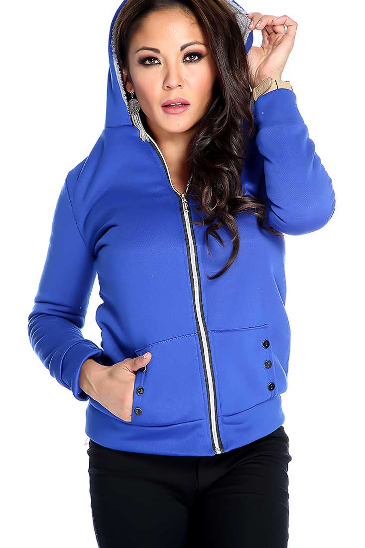 Stylish Royal Blue Long Sleeve Zip Up Sweater