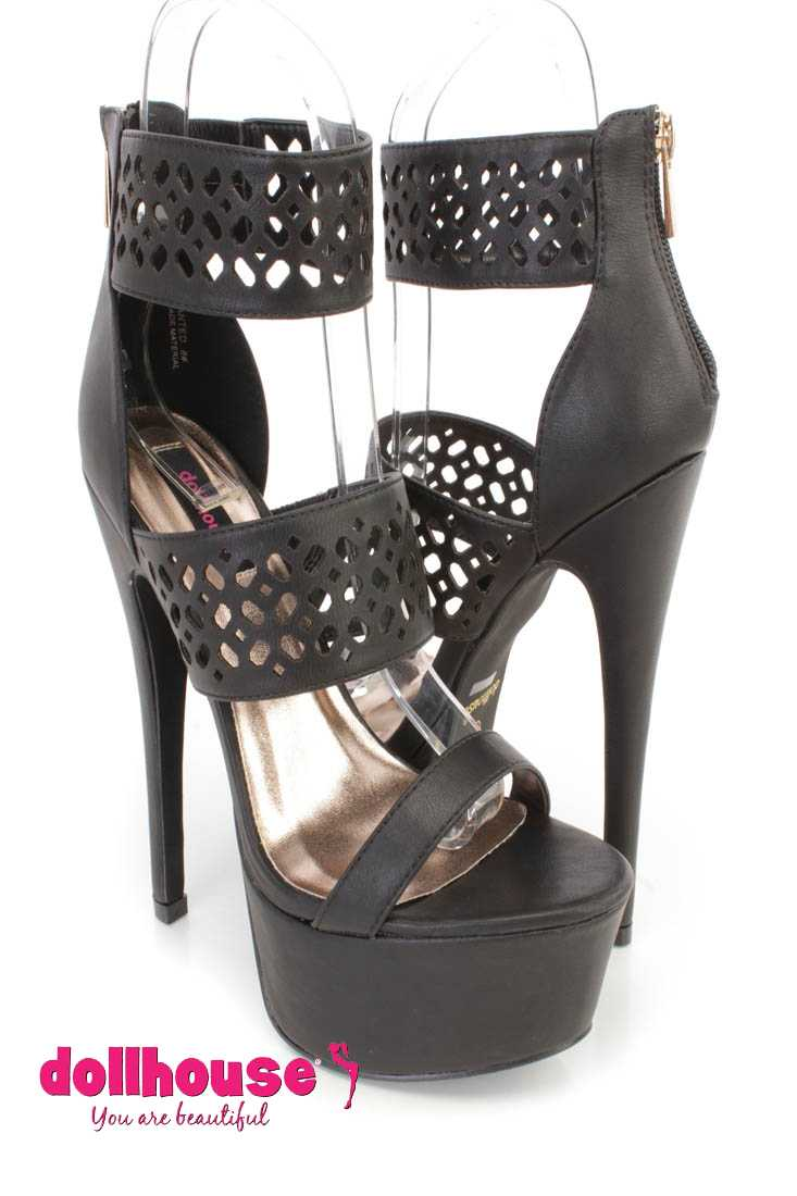 Black Perforated Strappy Platform 6 Inch High Heels Faux Leather