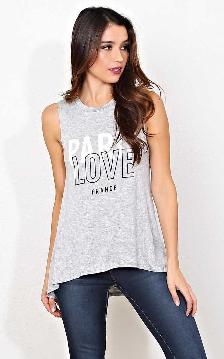 PARIS LOVE FRANCE Muscle Tank - - Heather in Size by Styles For Less
