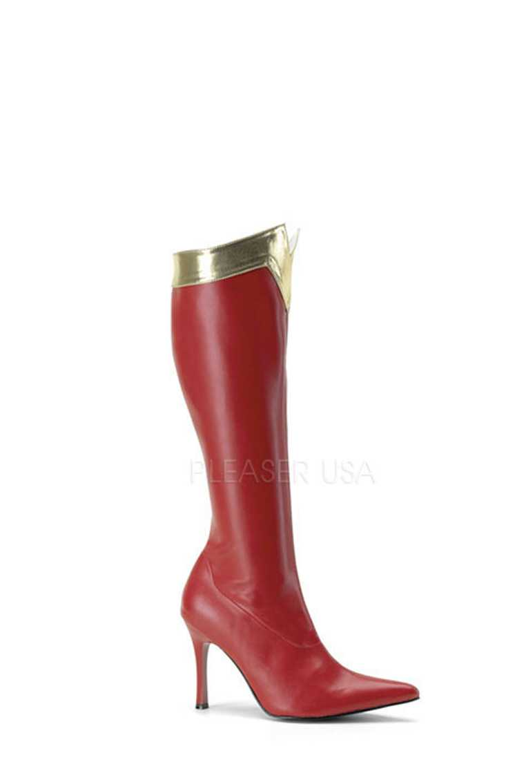 Red Gold Trimmed Wonder Woman Boots Faux Leather