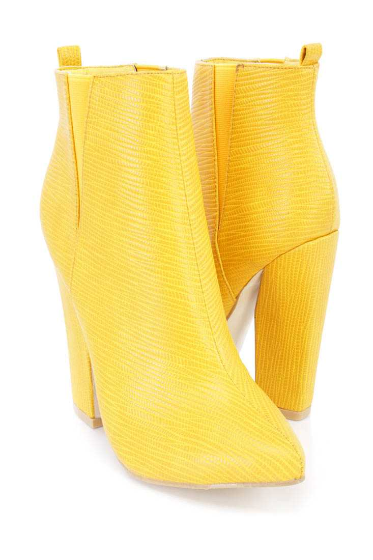 Mustard Snake Skin Textured Ankle Booties Faux Leather