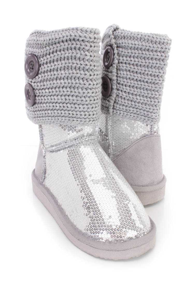 Silver Knitted Cuff Slip On Casual Boots Sequin
