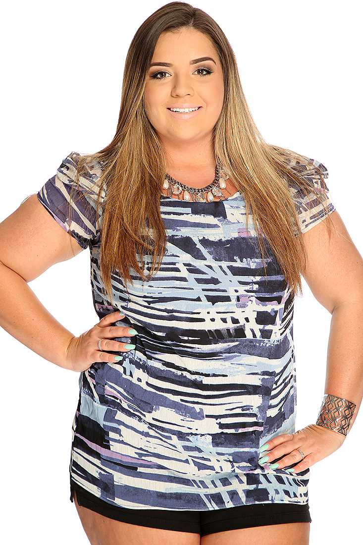 Blue Short Sleeve Sheer Printed Cute Summer Plus Size Top