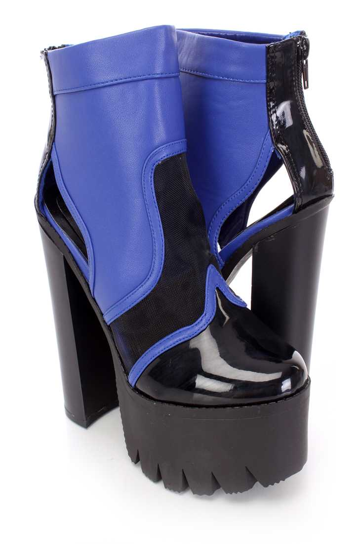 Royal Blue Mesh Chunky Platform Booties Faux Leather