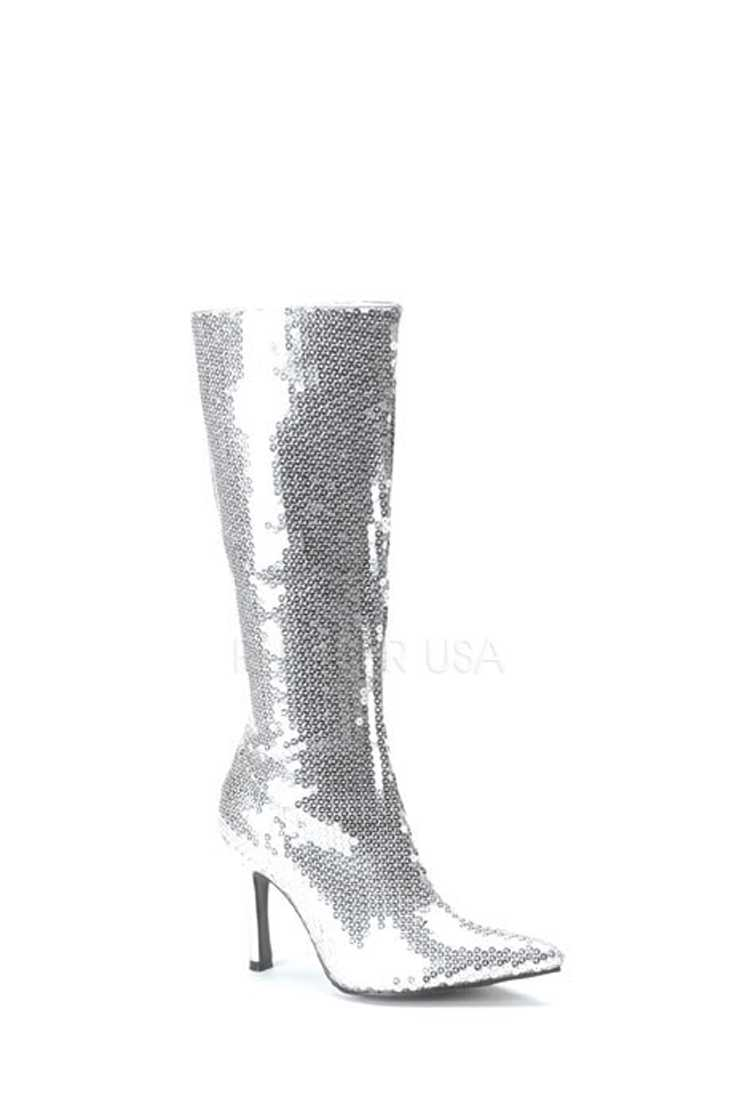 Silver Pointed Toe Knee High Boots Sequins