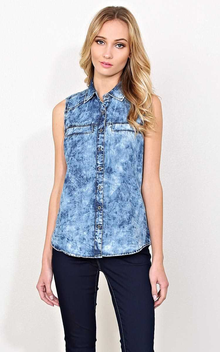 High Altitude Woven Chambray Tank - Acid Wash in Size by Styles For Less