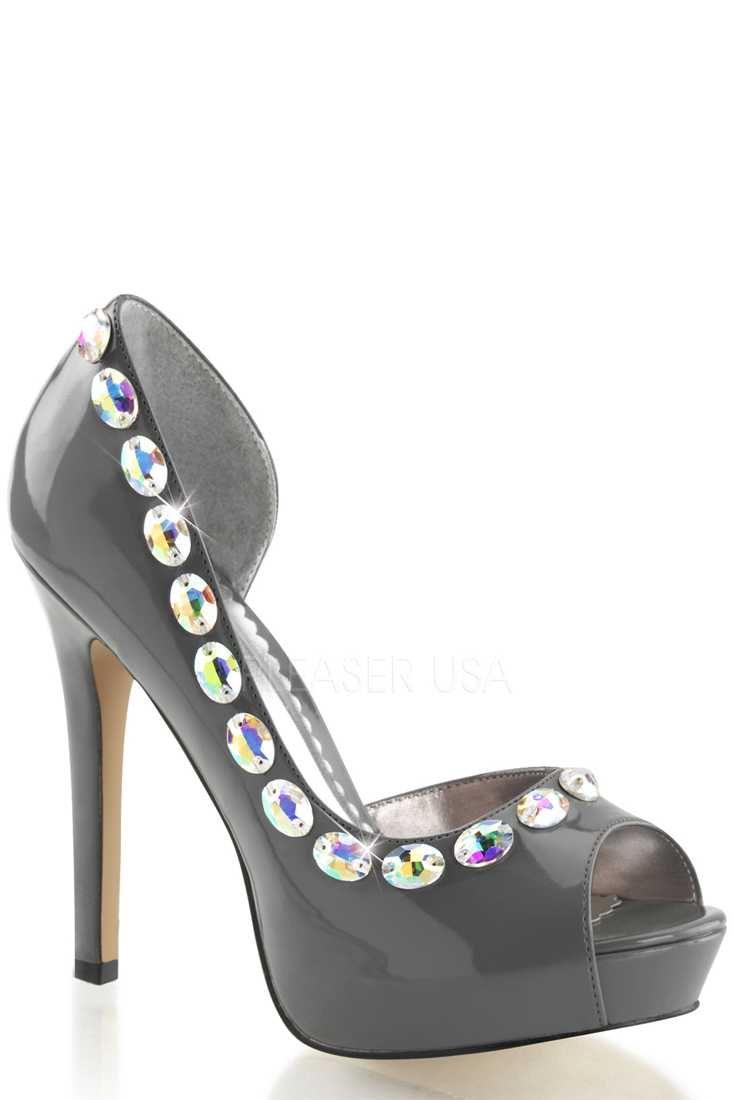 Pewter Open Toe D Orsay Pump High Heels Patent
