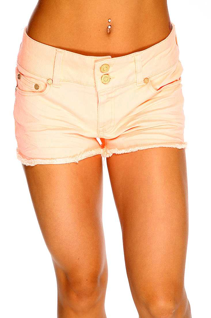 Neon Orange Pleated Raw Hem Cute Summer Shorts