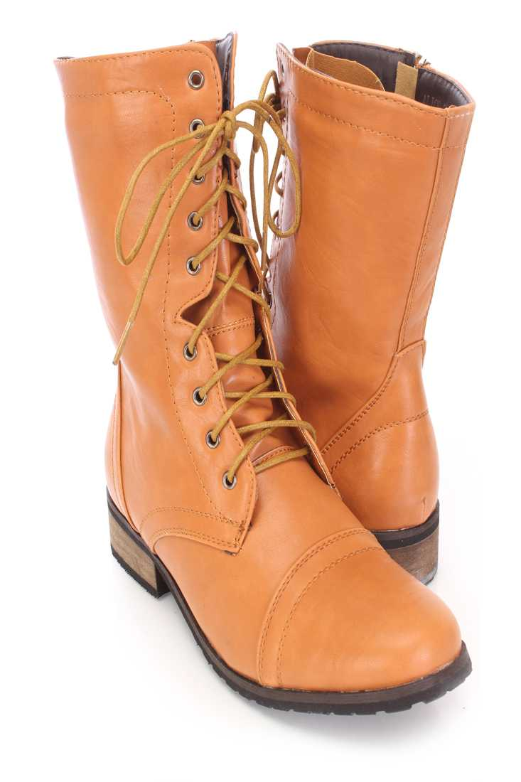 Tan Lace Up Combat Boots Faux Leather