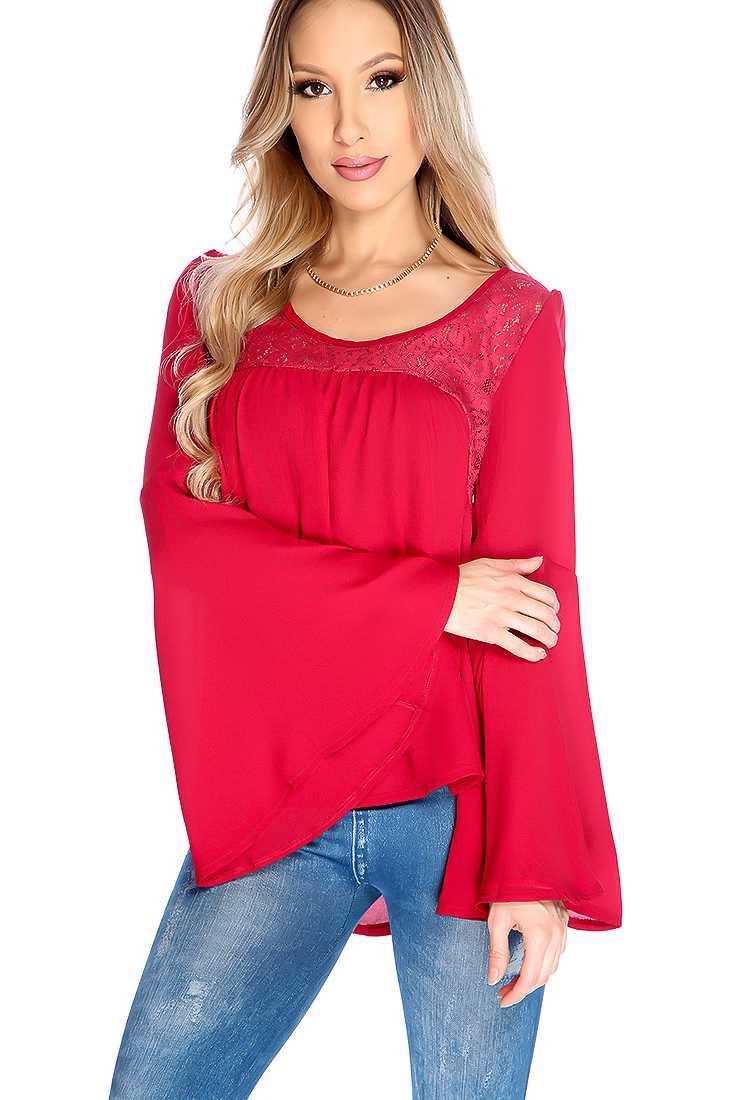 Wine Long Sleeve Floral Lace Detail Dressy Top