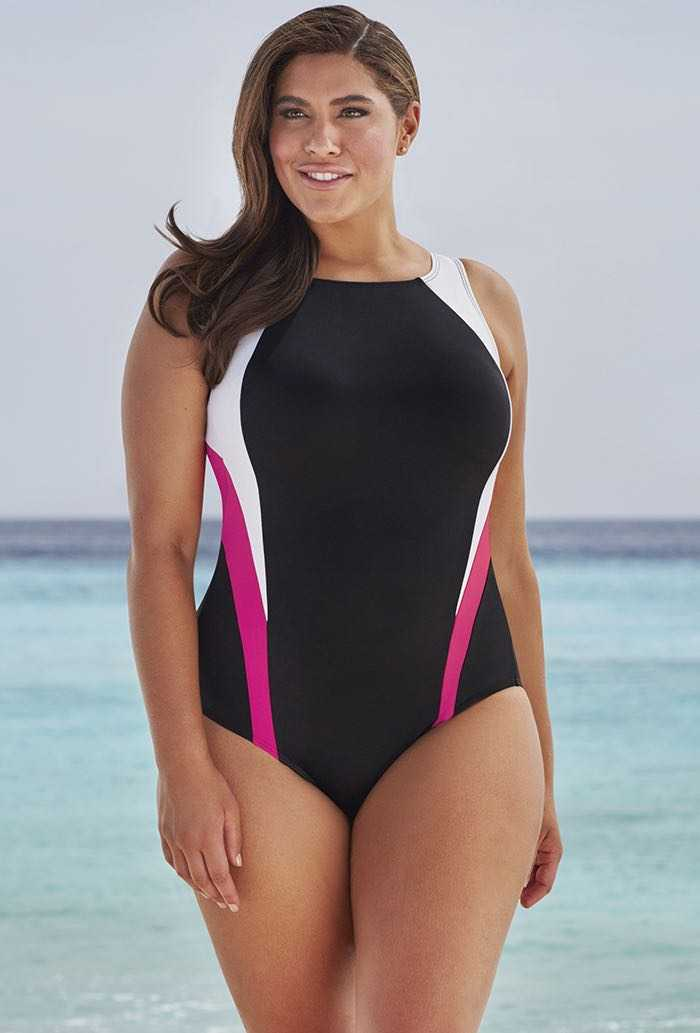 Pink Colorblock Swimsuit