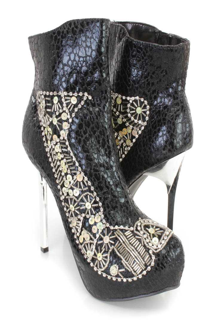 Black Rhinestone Sequin Beaded High Heel Booties Faux Leather
