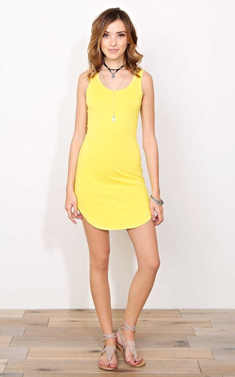Yellow Scooped Knit Tank Dress - SML - Yellow in Size Small by Styles For Less