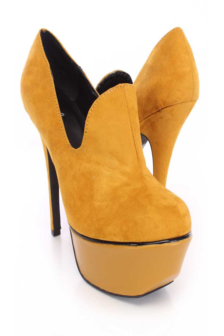 Mustard Loafer Platform Booties Faux Suede