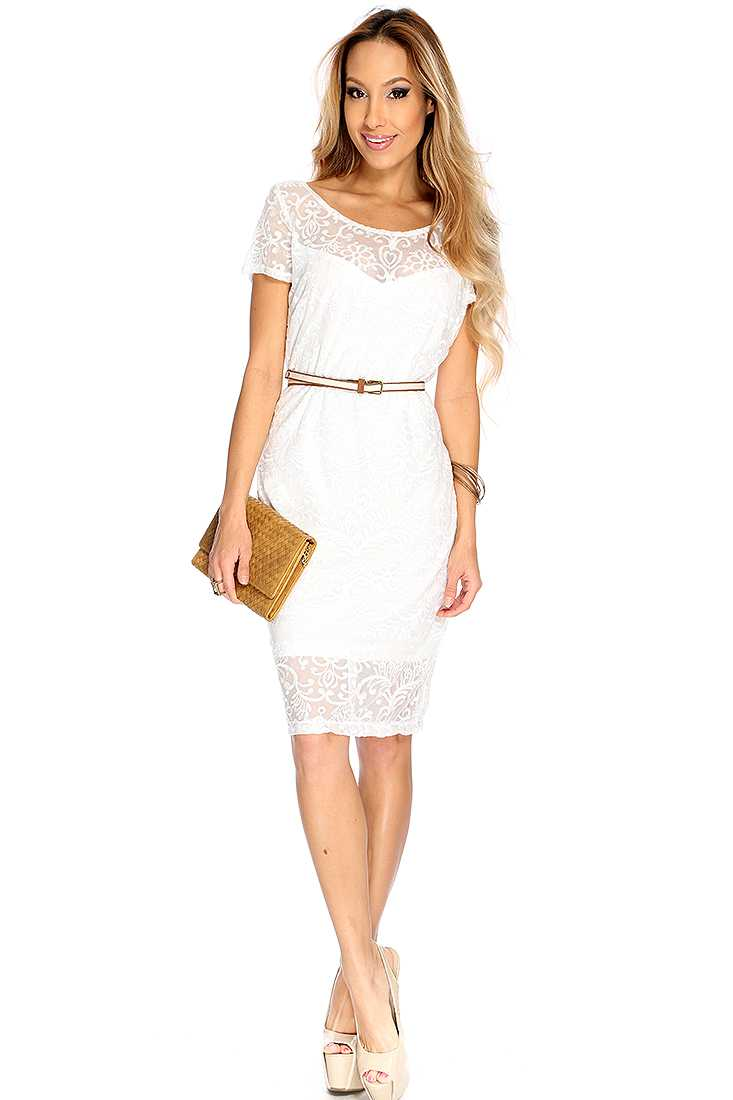 White Lace Over Lay Sexy Party Dress