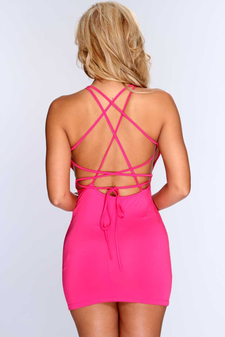 Fuchsia Crisscross Back Sexy Bodycon Party Dress