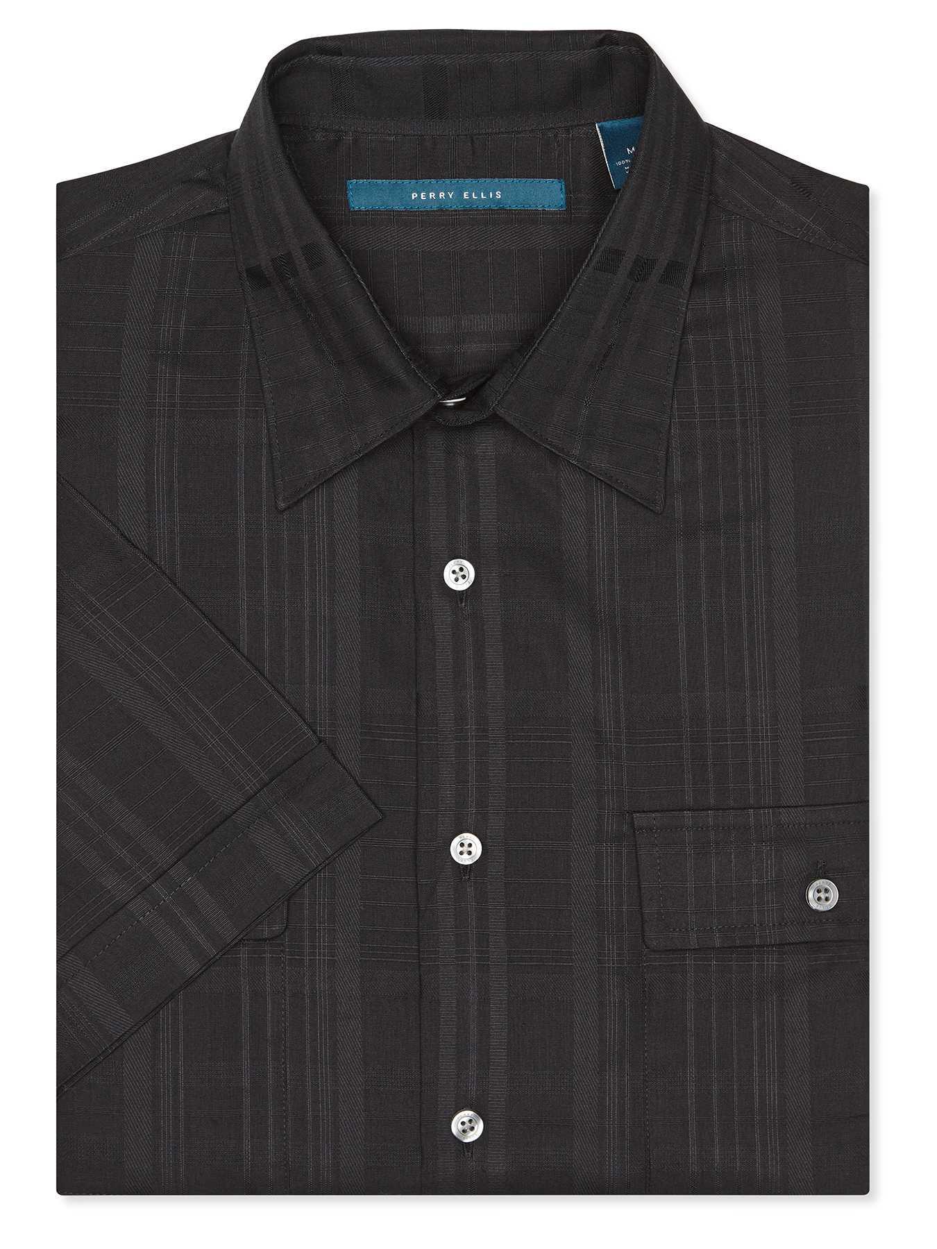 Perry Ellis Short Sleeve Solid Sateen Shirt