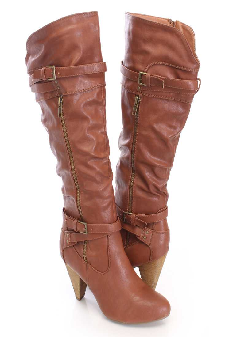 Cognac Knee High Strappy Boots Faux Leather
