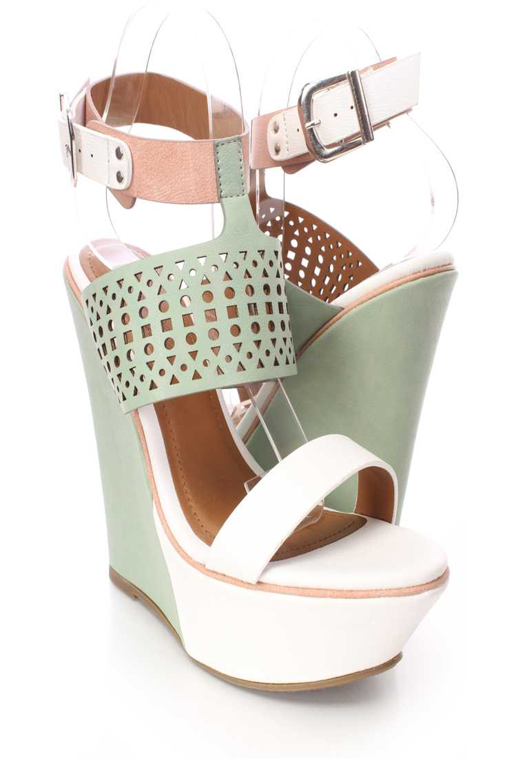 White Perforated Strappy Wedges Faux Leather