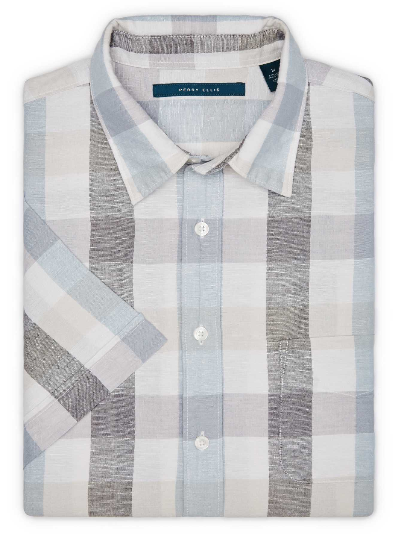 Perry Ellis Short Sleeve Plaid Linen Shirt