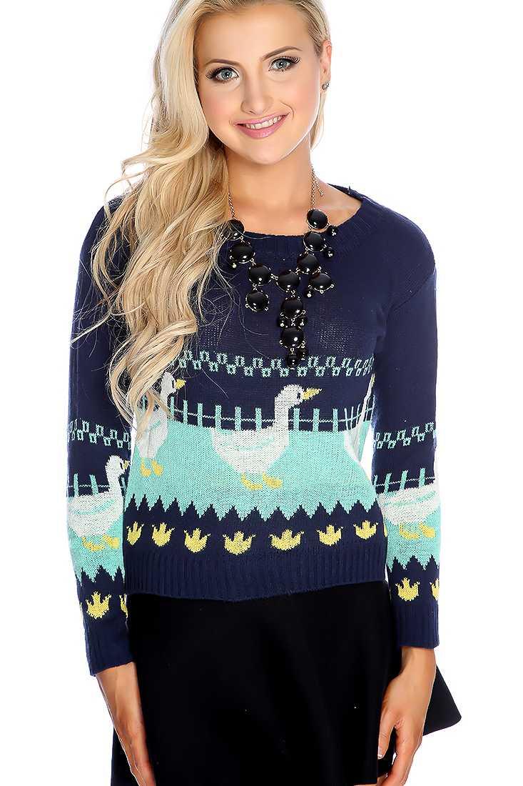 Navy Long Sleeve Round Neck Animal Print Sweater Top