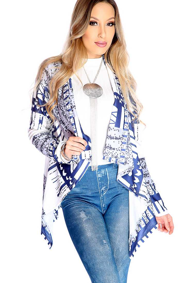 Navy White Tribal Print Open Front Sweater