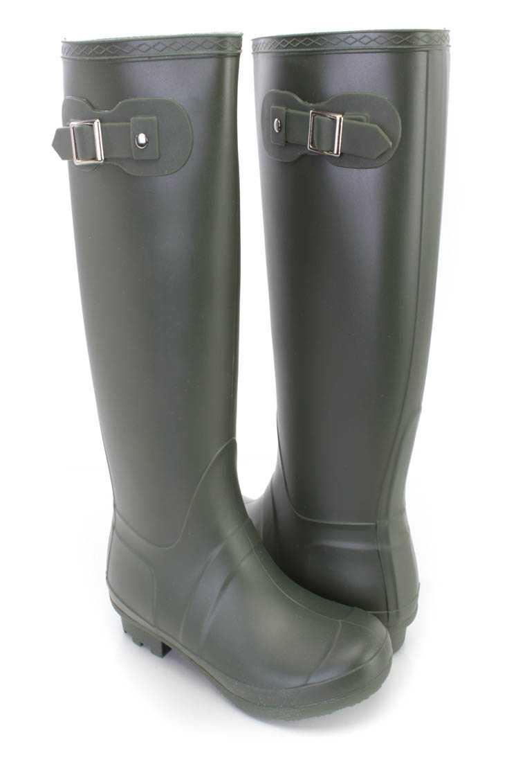 Olive Slip On Rubber Rain Boots PVC