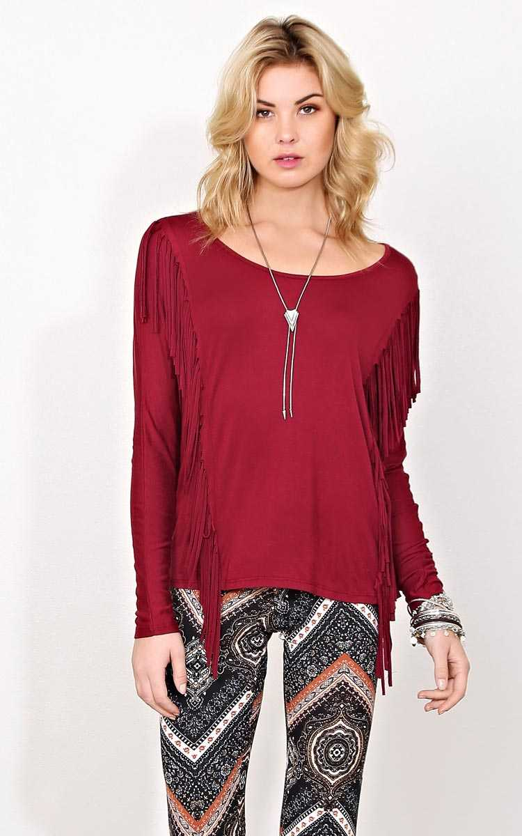 Ryder Knit Fringe Top - - Burgundy in Size by Styles For Less