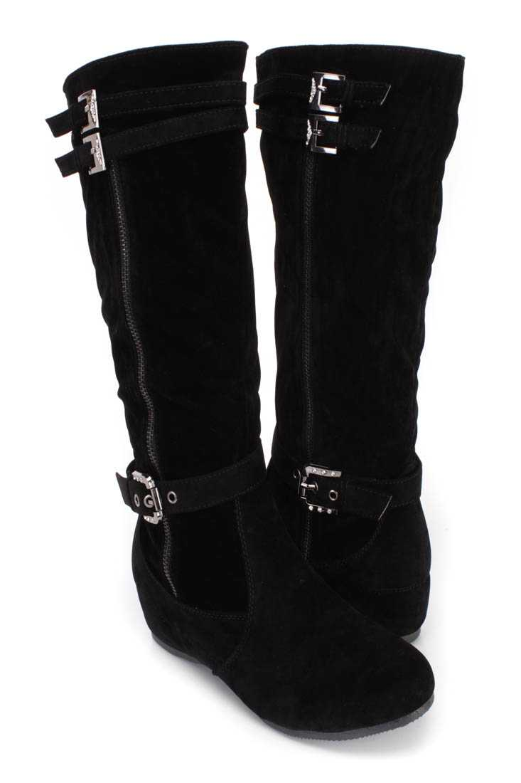 Black Buckle Strappy Comfy Boots Faux Suede