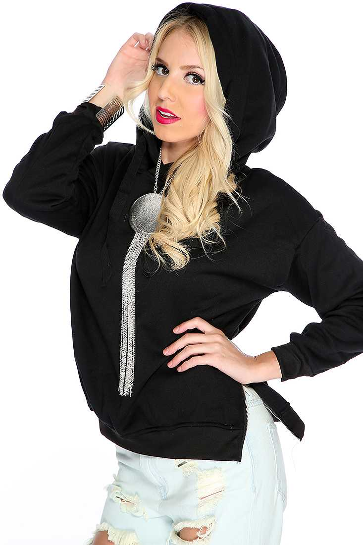 Black Long Sleeve Hooded Cute Sweater