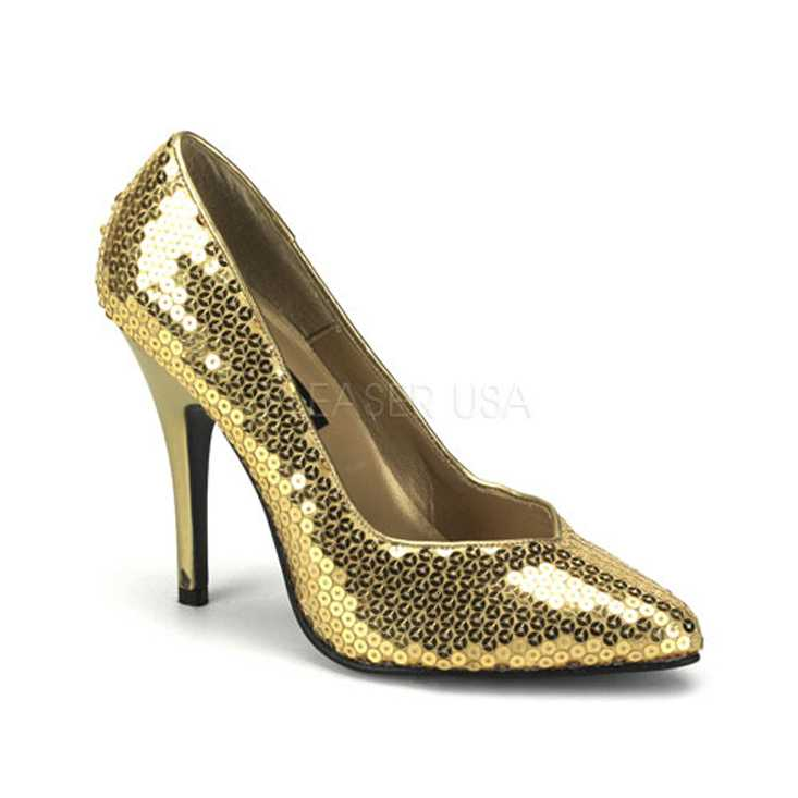 Gold Sequins Pointed Toe Pump High Heels