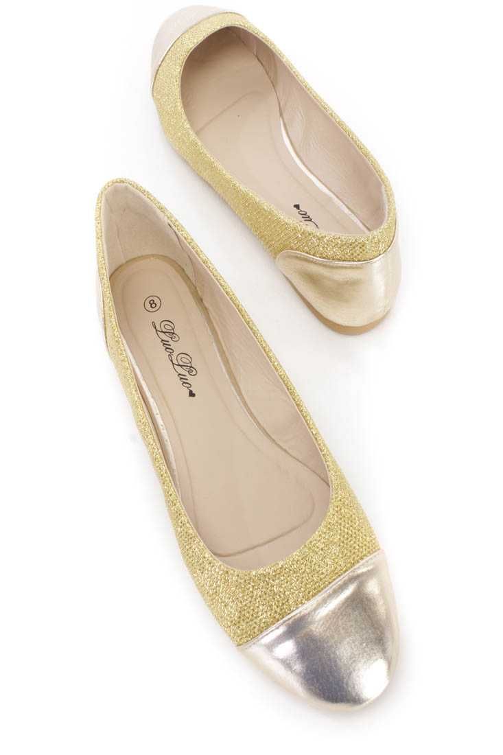 Gold Tinsel Shimmer Flats Faux Leather