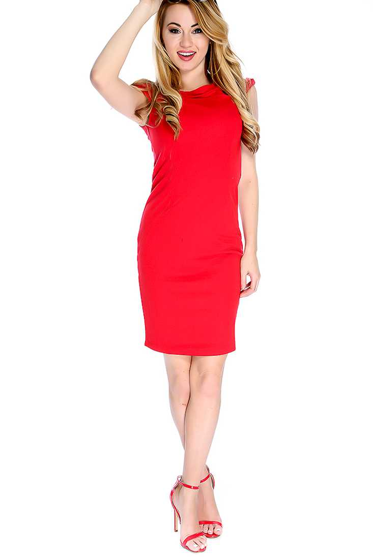 Red Cap Sleeves Bodycon Party Dress