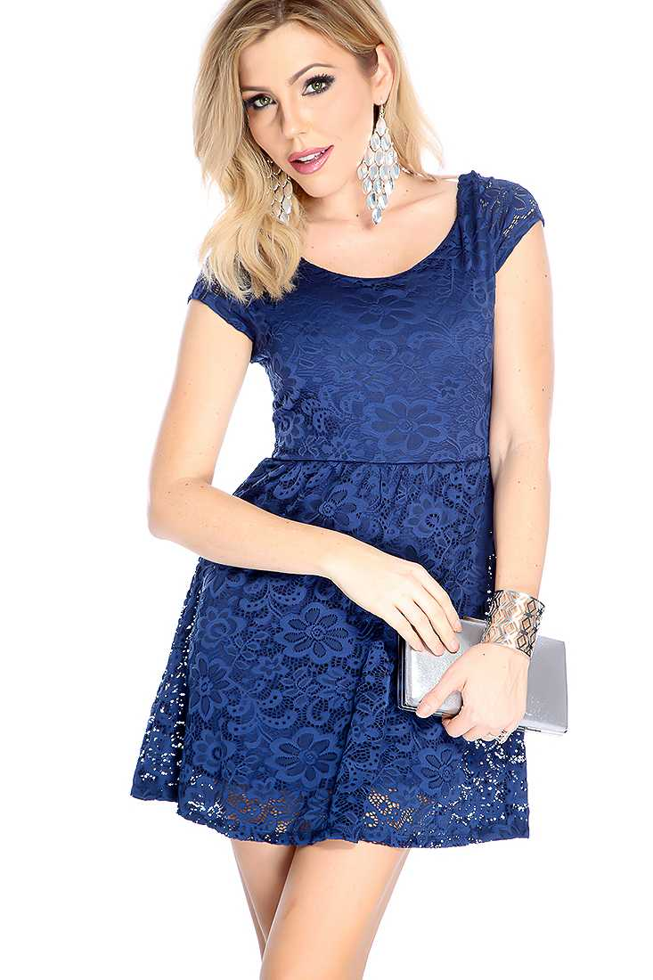 Navy Floral Crochet Short Sleeve Party Dress