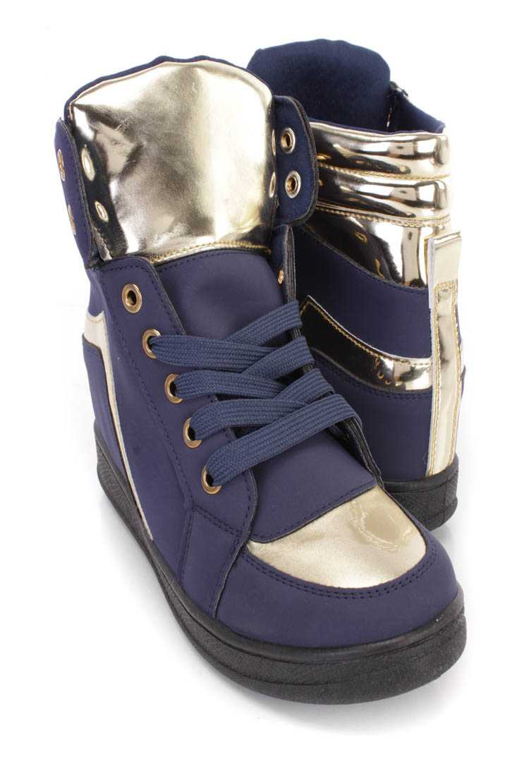 Navy Metallic Trim Lace Up Sneaker Wedges Nubuck