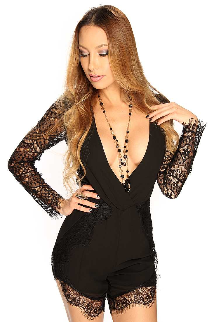 Black Plunging Eyelash Lace Sexy Romper