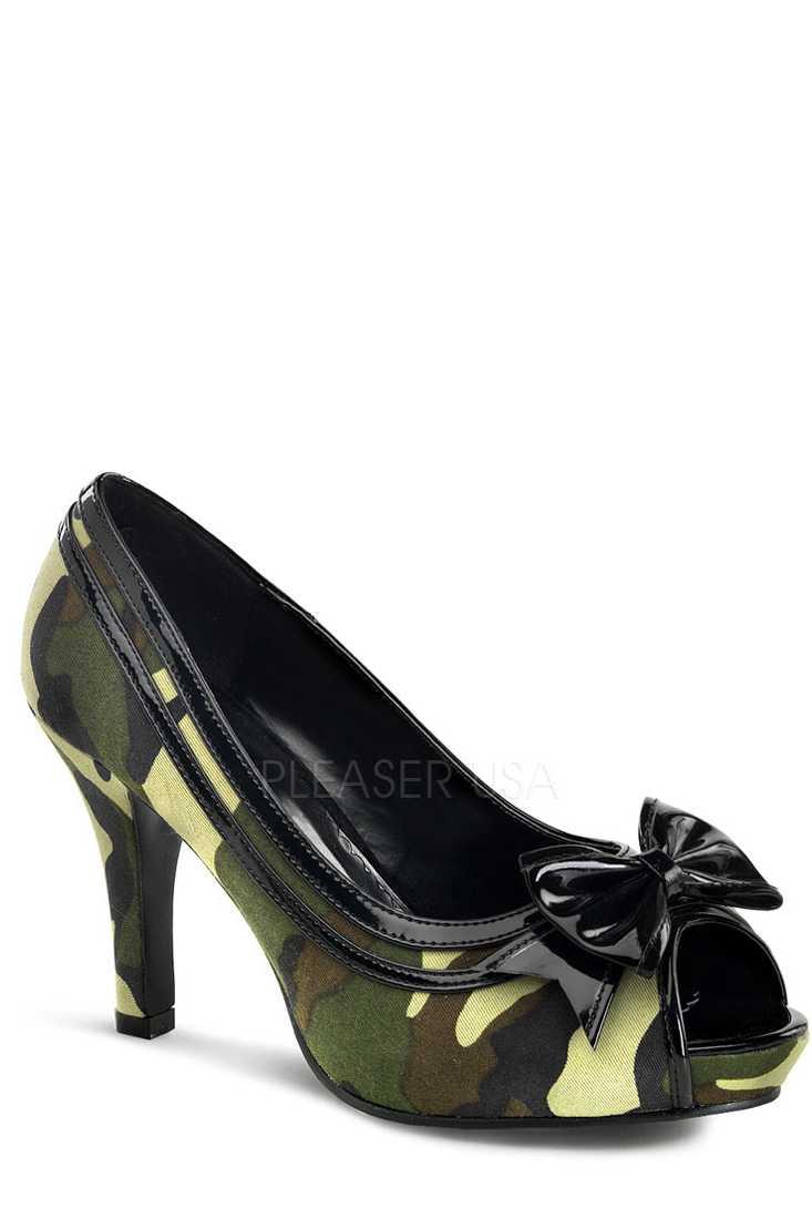 Green Camouflage Print Wide Width Pump High Heels Canvas